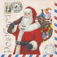 Lunch Servietten Santa Postcard