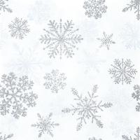 Servietten 33x33 cm - Schneekristalle Silber