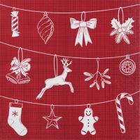 Servietten 33x33 cm - Weihnachtssymbole rot