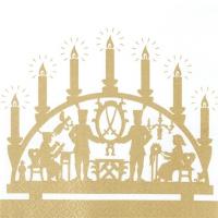 Servietten 33x33 cm - Goldener Schwibbogen
