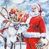 Servietten 33x33 cm - Santa with Reindeer