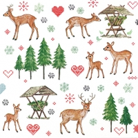 Servietten 33x33 cm - Charming Deers