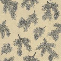 Servietten 33x33 cm - Pine Cones grey