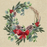 Servietten 33x33 cm - Natural Wreath