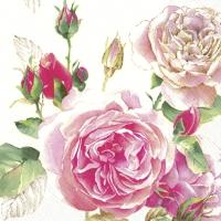 Servietten 25x25 cm - TEA ROSE white