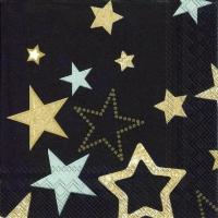 Cocktail Servietten SPARKLING STARS black