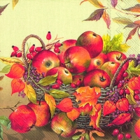 Servietten 25x25 cm - BASKET OF APPLES cream