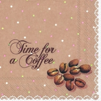 Servietten 25x25 cm - TIME FOR A COFFEE brown
