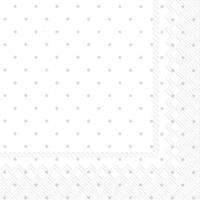 Servietten 25x25 cm - FINE DOTS white silver