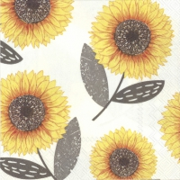 Servietten 25x25 cm - URBAN SUNFLOWER grey