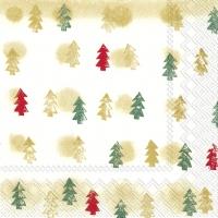 Servietten 25x25 cm - WINTER TREES gold green