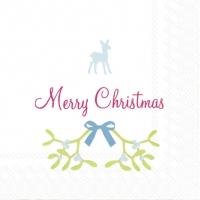 Servietten 25x25 cm - SWEET MERRY CHRISTMAS wh. blue