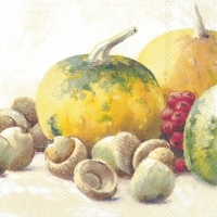 Servietten 25x25 cm - PUMPKIN AND ACORNS cream