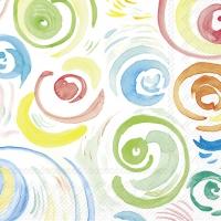 Servietten 25x25 cm - HAPPY CIRCLES weiß