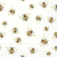 Servietten 25x25 cm - SAVE THE BEES! white