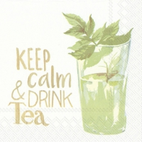 Servietten 25x25 cm - KEEP CALM & DRINK TEA white
