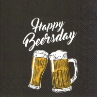 Servietten 25x25 cm - HAPPY BEERSDAY black