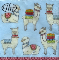 Servietten 25x25 cm - Happy Lamas light blue