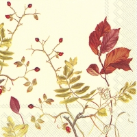 Servietten 25x25 cm - FALL BRANCHES cream