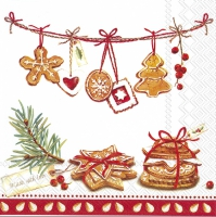 Servietten 25x25 cm - COOKIES, MADE WITH LOVE red