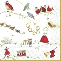 Servietten 25x25 cm - 12 DAYS OF CHRISTMAS wh. gold
