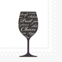 Servietten 25x25 cm - PROST & CHEERS black