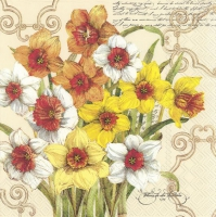 Servietten 25x25 cm - DECORATIVE DAFFODIL
