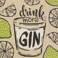 Servietten 25x25 cm - drink more gin