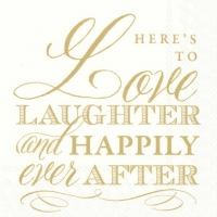 Servietten 25x25 cm - LOVE LAUGHTER gold