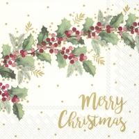Servietten 25x25 cm - MERRY CHRISTMAS cream
