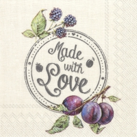 Servietten 25x25 cm - PLUMS, MADE WITH LOVE linen