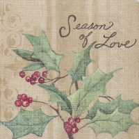 Servietten 25x25 cm - CHRISTMAS HOLLY light brown