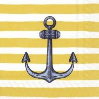Servietten 25x25 cm - SAILOR´S ANCHOR yellow