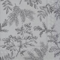 Servietten 25x25 cm - SILENTS PLANTS silver