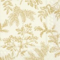 Servietten 25x25 cm - SILENTS PLANTS gold cream