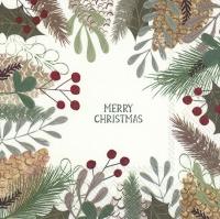 Servietten 25x25 cm - NATURAL MERRY CHRISTMAS