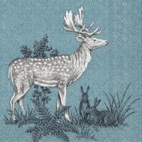 Servietten 25x25 cm - FOREST FRIENDS DEER blue