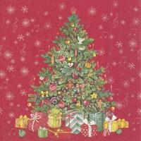 Servietten 25x25 cm - FESTIVE CHRISTMAS TREE red