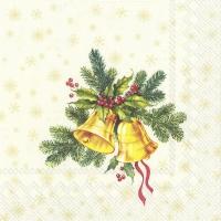 Servietten 25x25 cm - FESTIVE CHRISTMAS BELLS cream