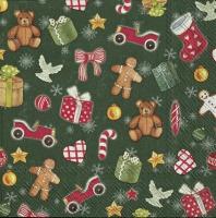 Servietten 25x25 cm - FESTIVE CHRISTMAS TOYS green