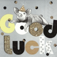Servietten 25x25 cm - GOOD LUCK PIG grey