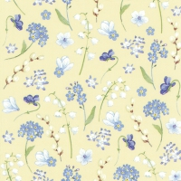 Servietten 25x25 cm - FLOWERS IN SPRING yellow