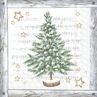 Servietten 25x25 cm - WHITE XMAS TREE grey