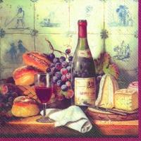 Lunch Servietten Wine and Cheese red