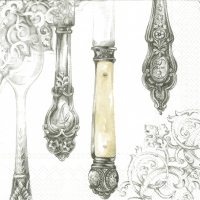 Lunch Servietten Cutlery white silver