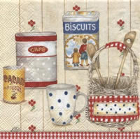 Servietten 33x33 cm - COTTAGE PANTRY rot
