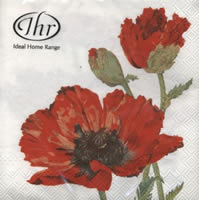 Servietten 33x33 cm - RED POPPY weiß