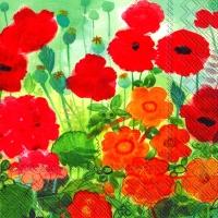 Servietten 33x33 cm - Mohnblumen und Freunde