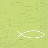 Servietten 33x33 cm - PEACEFUL FISH light green