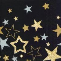 Servietten 33x33 cm - SPARKLING STARS schwarz